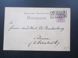 DR Ganzsache Pfennige 1880 Stempel R3 Hildesheim In Hannover. Nach Dissen Bei Osnabrück - Brieven En Documenten