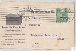 Enk's Patent-Einschweißgriffe Advertising Postcard Travelled 1911 Wien To Wocheiner Feistritz B180720 - Briefe U. Dokumente