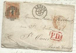 Portugal Yvert N° 23 ( 80 C R Orange ) Sur Lac De Lisbonne Pour Saint Omer , Octobre 1867  -   Pb16501 - Lettres & Documents