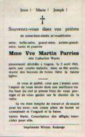 Souvenir  Mortuaire  WANTZ Catherine (1881-1963) Vve PARRIES, M. Morte à NAGEM - Images Religieuses