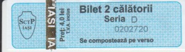 Romania - Iasi - Bus Ticket & Tramway Ticket, Tram Ticket - 2 Trips Ticket - Used, Stamp - Serial Number - Europe