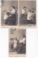JOLIE SERIE COMPLETE 5 CARTES  / ENFANTS ET LEUR MERE / LES ETUDES - Portraits