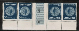 """ISRAEL  Scott # 42a** VF MINT NH """"TETE-BECHE"""" GUTTER PAIRS W/PLATE NUMBER LG-600 - Other"""