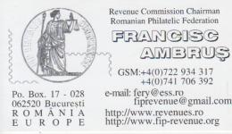 Romania - Visiting Card - Romanian Philatelic Federation - Philately - Visiting Cards