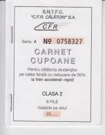 Romania - CFR Romanian Railways - Season Ticket - 6 Tickets - Discount For Students 50% - 2010 - Serial Number, New - Season Ticket