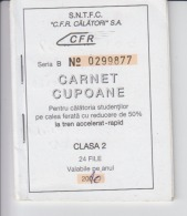 Romania - CFR Romanian Railways - Season Ticket - 24 Tickets - Discount For Students 50% - 2010 - Serial Number, New - Season Ticket