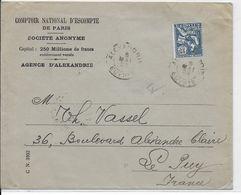 1928 - TYPE MOUCHON De ALEXANDRIE  (EGYPTE) - ENVELOPPE => LE PUY - Egypt