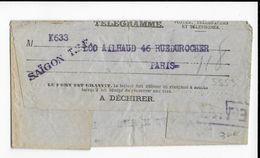 1932 - TELEGRAMME De NOUMEA (NOUVELLE CALEDONIE) Via TSF SAÏGON (INDOCHINE) => PARIS Avec CACHET PNEUMATIQUE - Briefe U. Dokumente
