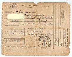 MILITARIA 1946 MARINE NATIONALE SERVICE A LA MER PERMISSION LA PALLICE C.S.M. SOUS MARIN ALLEMAND U 766 - POITIERS - Documents