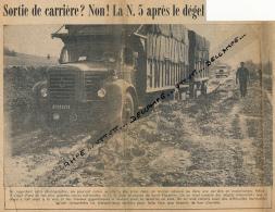 1963 : Document, SAINT-FLORENTIN (YONNE), La Nationale 2 Après Le Dégel, Camion Berliet - Historical Documents