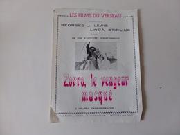"""Publicitaire Cinéma """" Zorro Le Vengeur Masqué """" Avec Georges J. Lewis ( Pliures, Déchirures ) - Cinema Advertisement"""