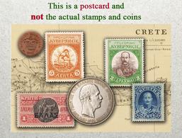Crete (Greece) Stamps And Coins Of Yesteryears, Crète Monnaies Et Timbres, Kreta (Griechenland) Münzen Und Briefmarken - Stamps (pictures)