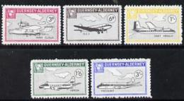 2092 Guernsey - Alderney 1965 Aircraft Perf Set Of 5 Unmounted Mint (aviation Airplanes) - Guernsey