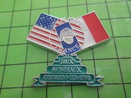 412E / PINS PIN'S Rare Et De Belle Qualité : THEME POMPIERS / SAPEURS POMPIERS USA FRANCE JEUX MONDIAUX COLORADO 1993 - Firemen