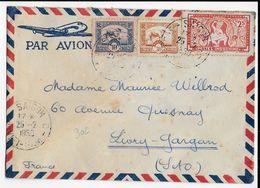 1950 - INDOCHINE - ENVELOPPE De SAÏGON RECETTE AUXILIAIRE C CACHET ROND RARE (SUD VIET-NAM) => LIVRY - Storia Postale