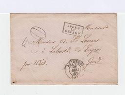 Enveloppe Sans Timbre. Marque Postale Au Dos. Tampons 30 Et Après Le Départ. (594) - Marcophilie (Lettres)