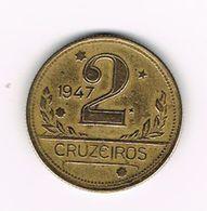 -&   BRAZILIE  2 CRUZEIROS 1947 - Brazil