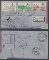 ST HELENA - JAMESTOWN / 1976 LETTRE RECOMMANDEE AVION POUR LES FALKLAND & RETOUR (ref LE996) - Saint Helena Island