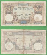 1000 Francs 1932 Cères Et Mercure France Francia - 1871-1952 Circulated During XXth