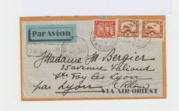 Sur Enveloppe Par Avion Via Air Orient 3 Timbres Indochine. Oblitération 1933. Cahet Saïgon Marseille. (597) - Indochine (1889-1945)
