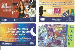 Lot De 4 Télécartes Du BRESIL - ATL Et TELEMAR - Brésil