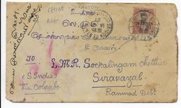 1927 - CANTON - ENVELOPPE UTILISEE à SAÏGON (COCHINCHINE) => SIRAVAYA (INDE ANGLAISE) - Canton (1901-1922)