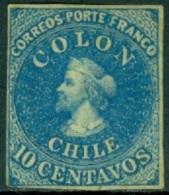 CHILE 1862 10c BLUE COLUMBUS* (MHR) - Chile