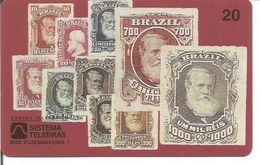 Télécarte Du BRESIL - Reproduction De Timbres Anciens Sur DON PEDRO II Barba Blanca (Utilisée 06/1997) - Timbres & Monnaies