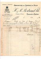 FACTURE H. & R. BERTRAND FILS MANUFACTURE DE CHAPEAUX DE PAILLE à CHALON SUR SAONE 1929 - 1900 – 1949