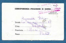 ITALIAN PRISONER OF WAR CAMP UNION SOUTH AFRICA  PRIGIONIERI DI GUERRA 1943 TO ANDRIA BARI - Documents