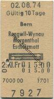 Schweiz - Bern Roggwil-Wynau Murgenthal Eschholzmatt Und Zurück - Fahrkarte 1974 - Europa