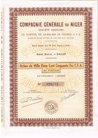 Action Ancienne - Compagnie Générale Du Niger - N°029771 - Afrique