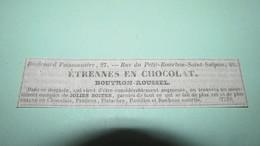 CHOCOLAT / CIOCCOLATO / CHOCOLATE - CHOCOLAT BOUTRON-ROUSSEL - ETRENNES EN CHOCOLAT - PUBLICITE DE 1839 - Publicités