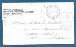 PRISONER OF WAR P.O.W. N.94 GREAT BRITAIN PASSED P.W. 4107 1944 KRIEGSFANGENNENPOST - Documenti
