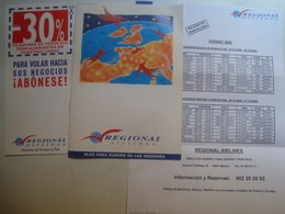 REGIONAL AIRLINES - 1999 APROX. - Timetables