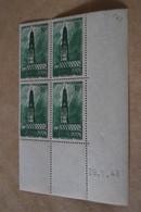 Superbe Feuillet De 4 Timbres,strictement Neuf Avec Gomme,1943,Arras,le Beffroi,N° 567 - France