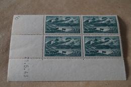 Superbe Feuillet De 4 Timbres,strictement Neuf Avec Gomme,1943,la Lac Lerie Et La Meije,N° 582 - Neufs