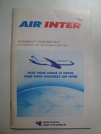 AIR INTER / AIR FRANCE. HORAIRE Nº 71 - FRANCE, 1995. - Horaires