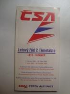 ĆSA LETOVÝ RÁD 2 TIMETABLE. CZECH AIRLINES - CZECH REPUBLIC, 1995. - Horaires