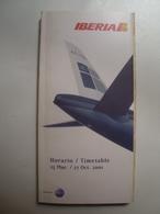 IBERIA. HORARIO / TIMETABLE - ESPAÑA / SPAIN, 2001. - Timetables