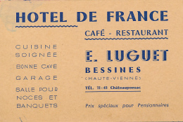CARTE DE VISITE, HOTEL DE FRANCE, BESSINES (HAUTE-VIENNE), E. LUGUET, CAFE-RESTAURANT - Visiting Cards