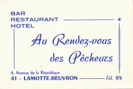 CARTE DE VISITE, AU RENDEZ-VOUS DES PECHEURS, BAR, RESTAURANT, HOTEL, LAMOTTE-BEUVRON (LOIR-ET-CHER) - Visiting Cards