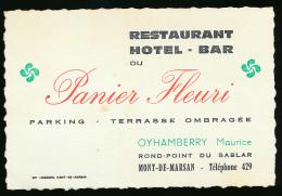 CARTE DE VISITE, AU PANIER FLEURI, RESTAURANT, HOTEL, BAR, MONT-DE-MARSAN (LANDES), MAURICE OYHAMBERRY - Cartes De Visite