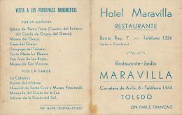 CARTE DE VISITE, HOTEL MARAVILLA, RESTAURANTE-JARDIN, TOLEDO, TOLEDE (ESPAGNE), PLAN, CARTE, MONUMENTS, MONUMENTOS - Visiting Cards