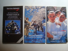 BRITISH AIRWAYS WORLWIDE TIMETABLE - ENGLAND, 1994-95, 1997, 1998. - Timetables