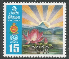 Sri Lanka. 1972 Inaug Republic Of Sri Lanka. 15c MNH. SG 591 - Sri Lanka (Ceylon) (1948-...)