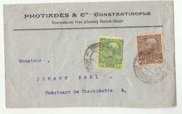 1910c Austria LEVANT Constantinople COVER Photiades Co ,stamps , Turkey - 1858-1921 Ottoman Empire