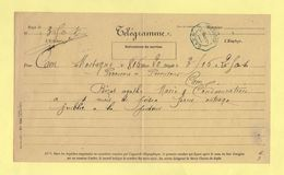 Telegramme - Pour Caen De Mortagne - 1885 - Telegramas Y Teléfonos