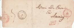 Gd Fragment Dc Rge Tournay 14 Mar 1844 V. Anvaing + PP Enc ; Verso : Dc Rge Leuze + Dc Noir Frasnes Port 5 - 1830-1849 (Belgique Indépendante)