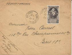 LETTRE 1941 AVEC TIMBRE A SURTAXE 1 FR + 2 FR POUR NOS VICTIMES DE LA GUERRE - Postmark Collection (Covers)